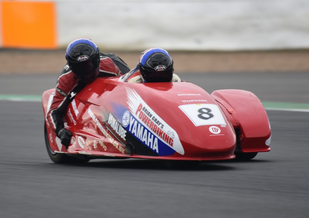 Alan Founds and Tom Christie nearly made a clean sweep of the RKB F1 Sidecar series on their F2 outfit...