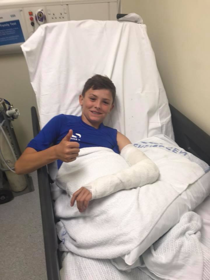 Rendell in hospital last week after his supermoto incident...