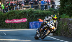 Stevenson had been on course for a lap record before crashing out at Creg-ny-Baa on lap two...