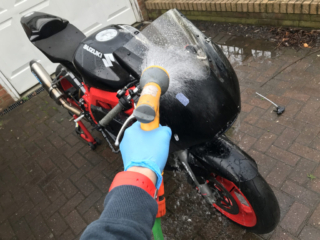 Step 3: Give the bike another rinse (power washer comes in handy here)...